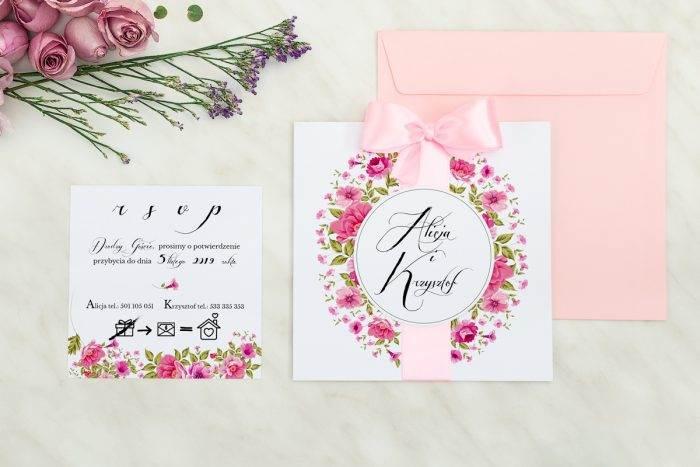 Wianki z kokardą - Ogrodowe róże - zaproszenie z dodatkową karteczką