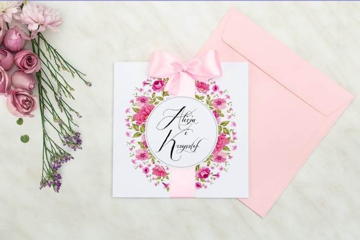 Wianki z kokardą - Ogrodowe róże - zaproszenie z kopertą