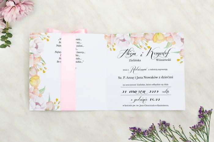 Wianki z kokardą - Pastelowe anemony - wnętrze zaproszenia