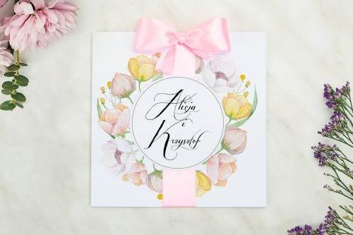 Wianki z kokardą - Pastelowe anemony - zaproszenie