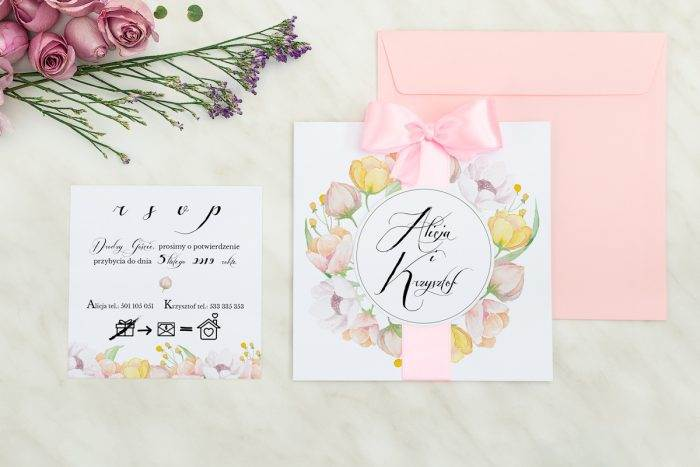 Wianki z kokardą - Pastelowe anemony - zaproszenie z dodatkową karteczką