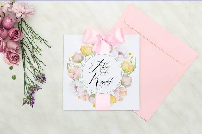 Wianki z kokardą - Pastelowe anemony - zaproszenie z kopertą