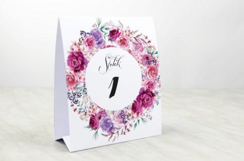 Numer stolika pasujący do zaproszenia Wianki z kokardą - Fuksjowe peonie