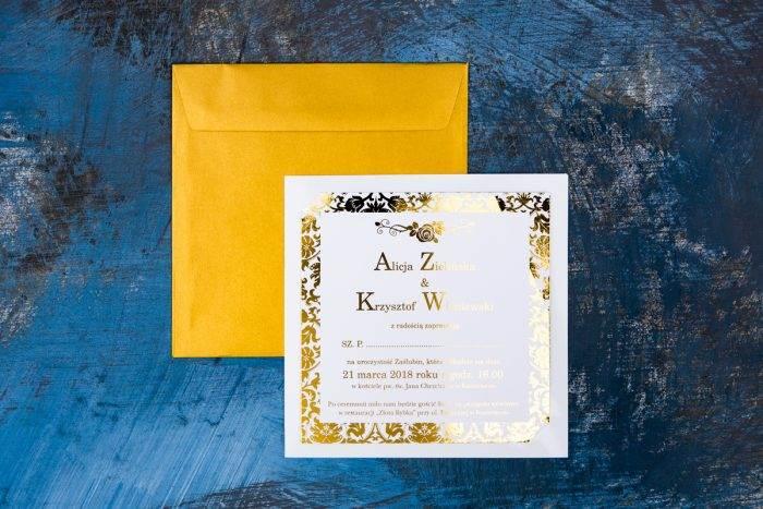 zaproszenie na ślub złocone