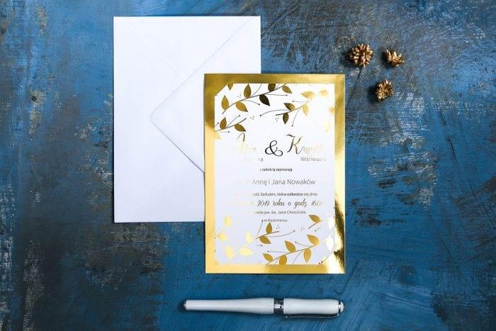złocone zaproszenie delikatne liście