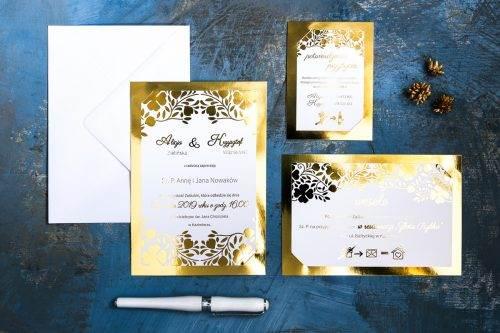 złocone karteczki weselne