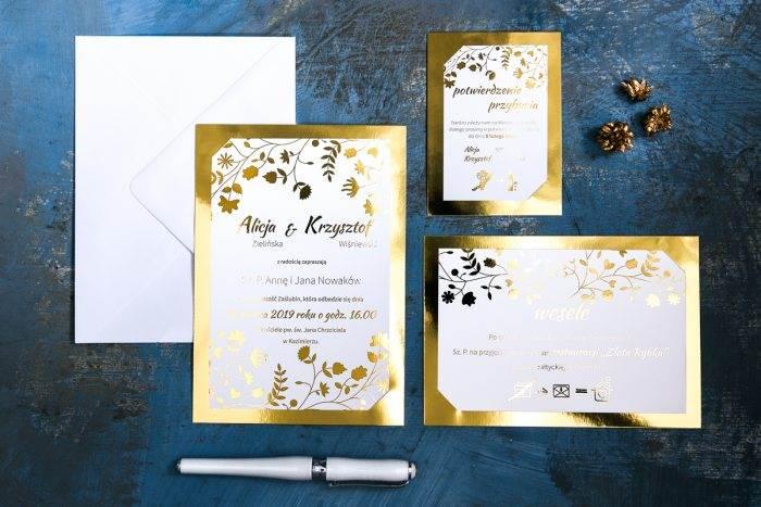 zaproszenie-zlote-lustro-kwiaty-i-paprocie-papier-matowy-350g-podkladki--foliowanie--koperta-bez-koperty