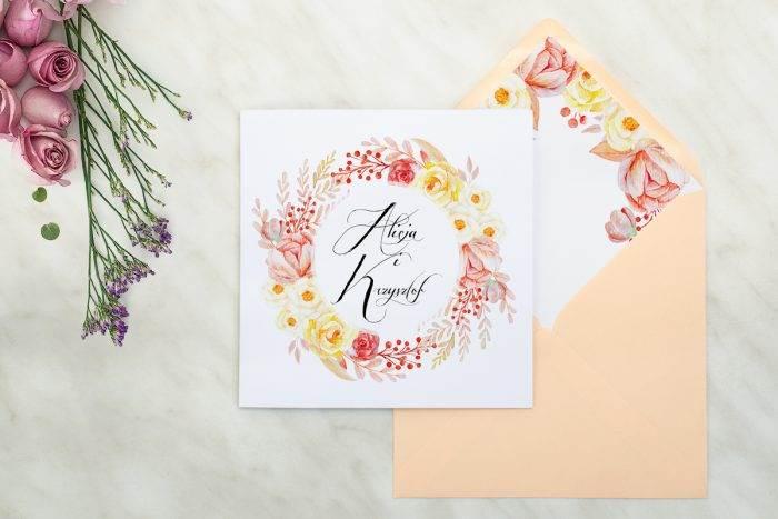 zaproszenie-slubne-kwiaty-wianuszki-akwarelowe-roze-papier-matowy-koperta-brzoskwiniowa-14x14