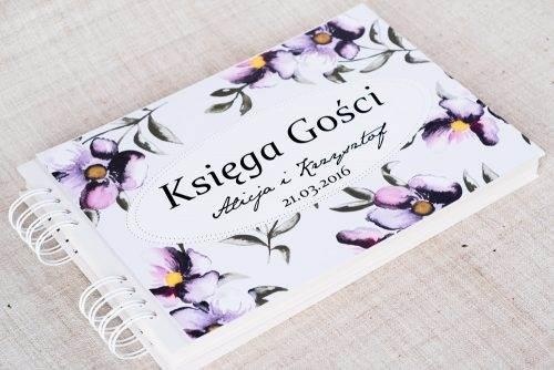 księga gości ślubnych fioletowe kwiaty