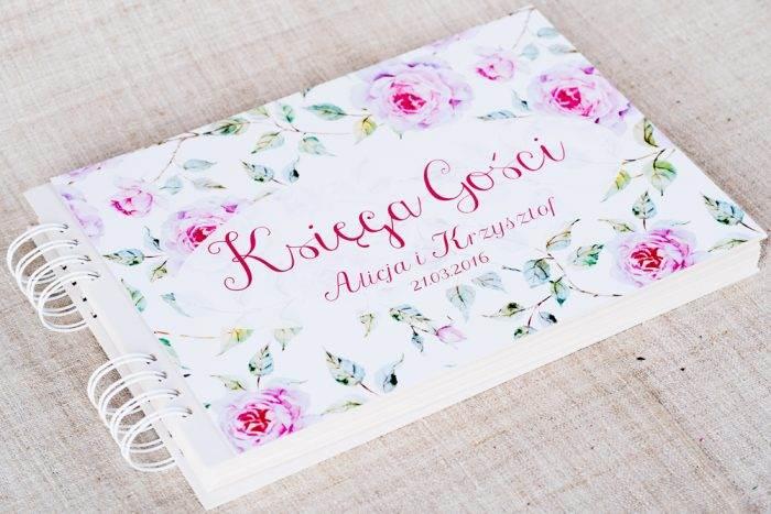 ksiega-gosci-slubnych-kwiaty-roze-papier-matowy-dodatki-ksiega-gosci
