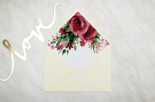 koperta kremowa z wklejką burgundowe róże