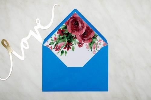 koperta c6 niebieska z wklejką burgundowe róże