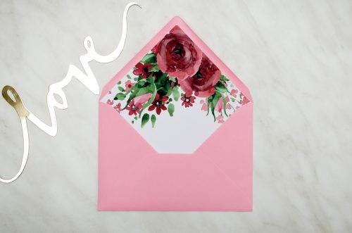 koperta c6 z wklejką różowa