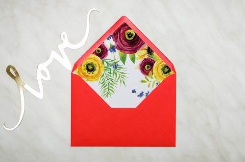 rustykalne peonie koperta czerwona z wklejką
