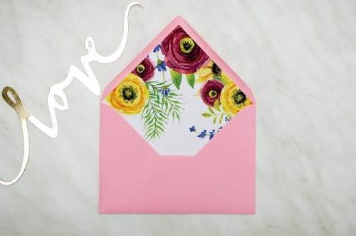 koperta C6 różowa z wklejką rustykalne peonie