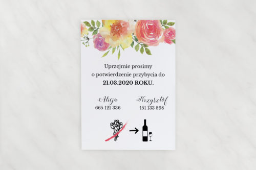 akwarelowe kwiaty dodatkowa karteczka