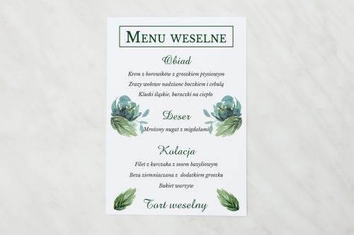 błękitne róże menu weselne