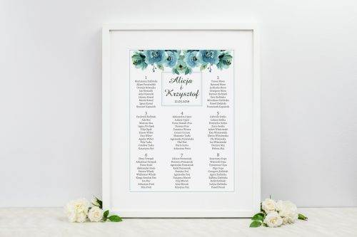 błękitne róże tablica weselna