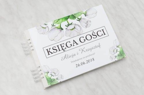 białe anemony księga gości ślubnych