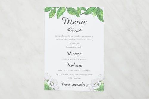 menu weselne białe anemony