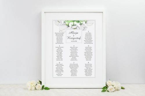 tablica weselna białe anemony