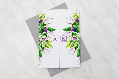 Biało-fioletowe-krokusy---zaproszenie-z-kopertą