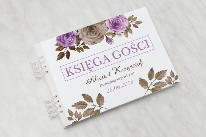 ksiega-gosci-slubnych-kwiaty-z-nawami-fioletowe-roze-papier-satynowany-dodatki-ksiega-gosci