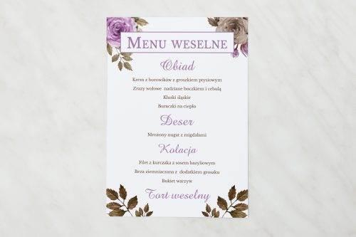 menu weselne fioletowe róże