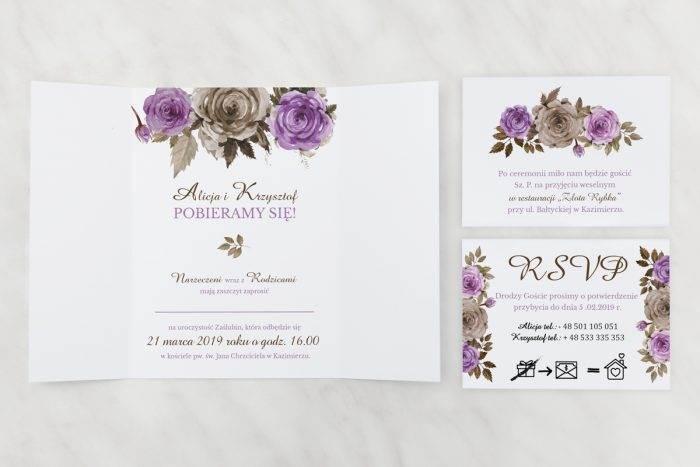 Fioletowe-róże---zaproszenie-z-dwoma-karteczkami