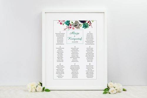 tablica weselna kolory jesieni