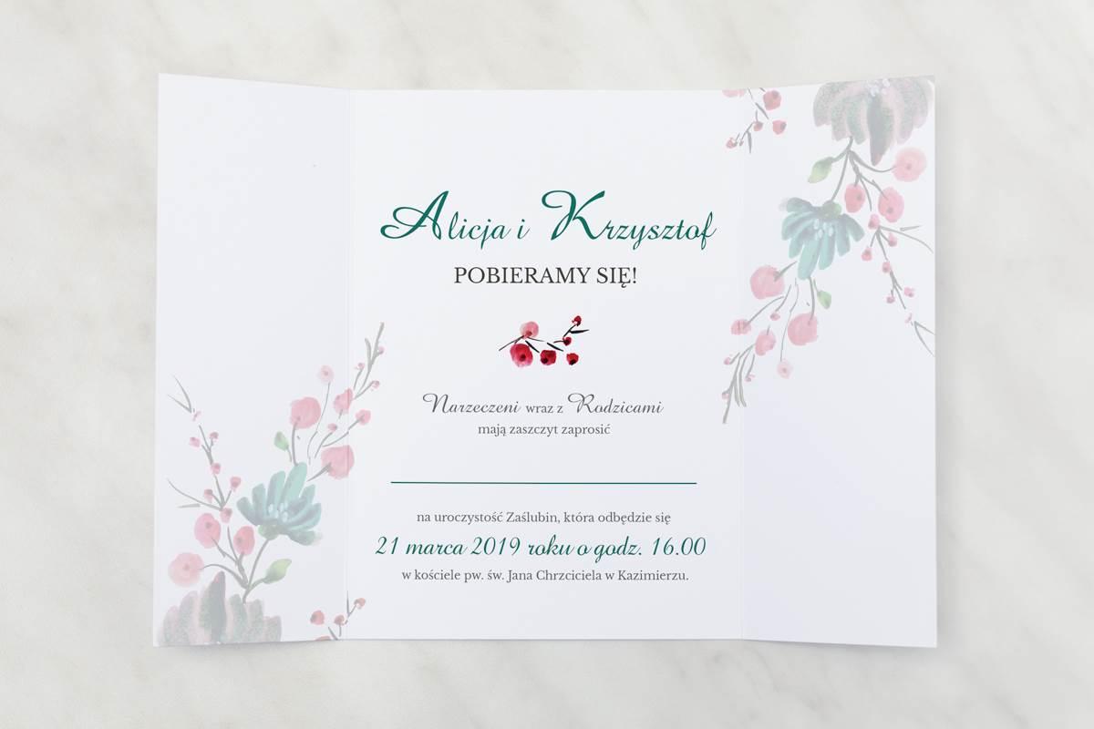 Oryginalne Zaproszenie ślubne Kwiaty Z Nawami Kolory Jesieni