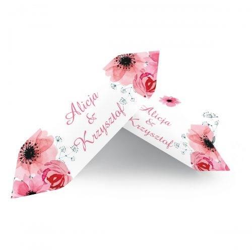 krówka weselna kwiatuszki pink