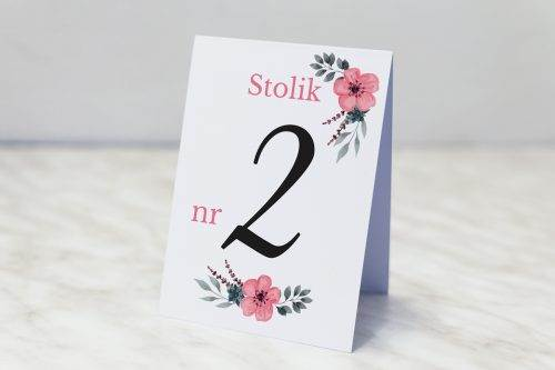 numer stolika kwiatuszki pink