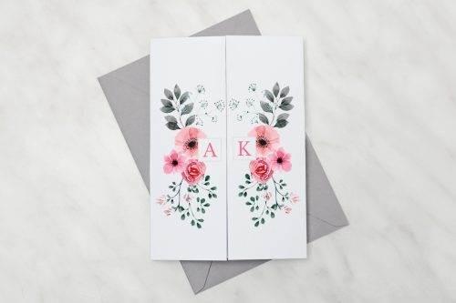 Kwiatuszki-pink---zaproszenie-z-kopertą