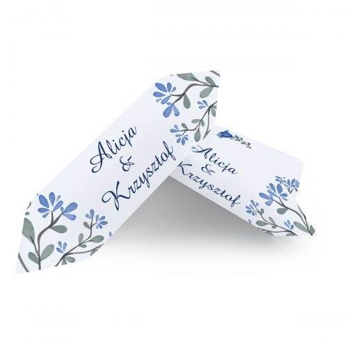 krówka weselna niebieskie kwiaty