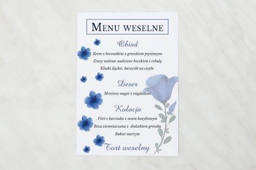 menu weselne niebieskie kwiaty