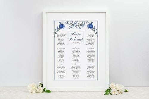 tablica weselna kwiaty niebieskie