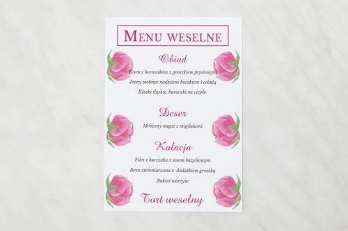 menu weselna peonie