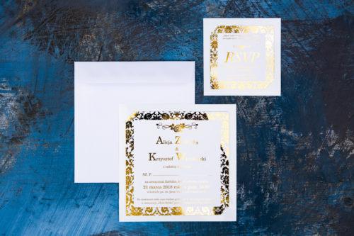 zaproszenie ślubne złocone