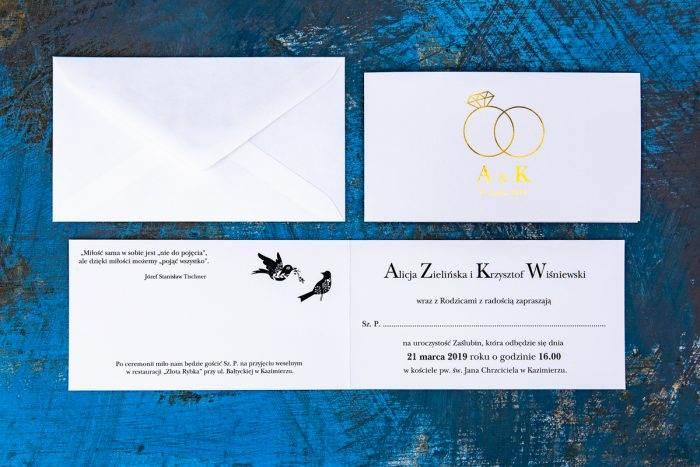 zaproszenie ślubne ze złoceniami otwarte