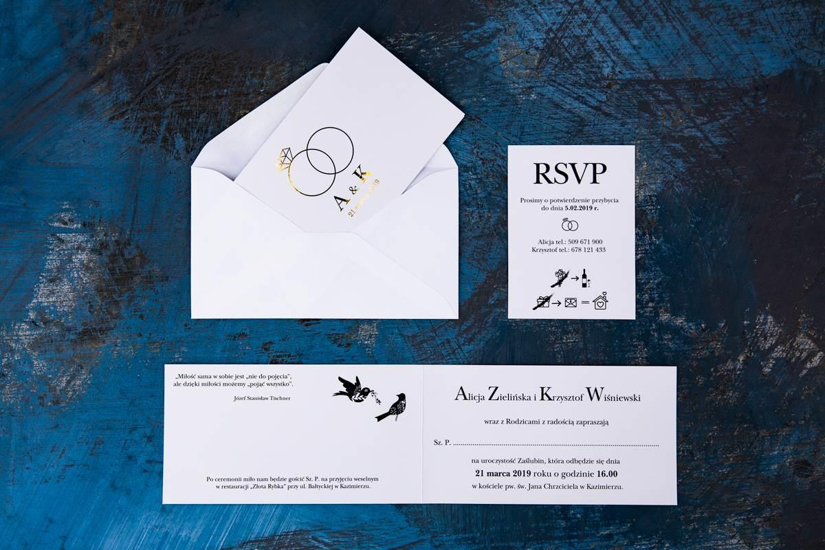 Eleganckie Zaproszenie ślubne Złote Obrączki