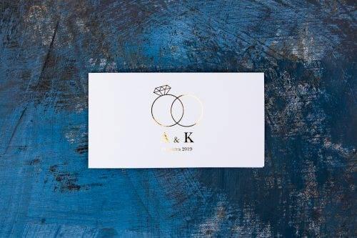 minimalistyczne zaproszenie ze złoceniem
