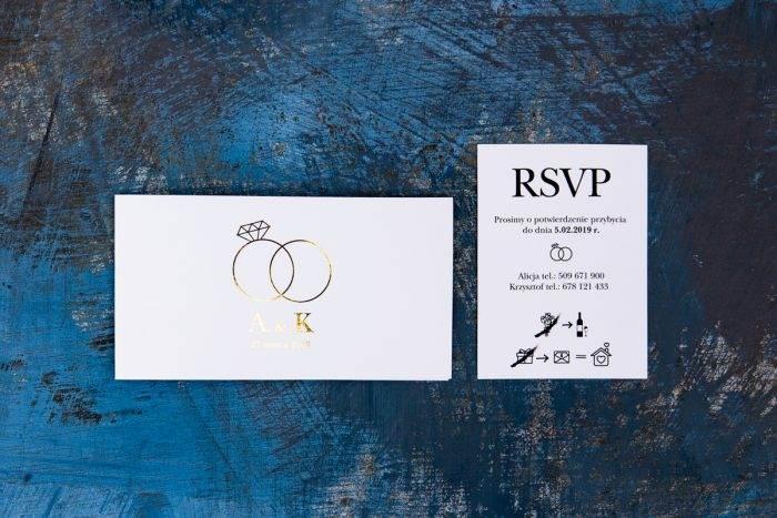 złocone zaproszenie i rsvp