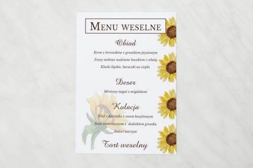 menu weselne ze słonecznikami