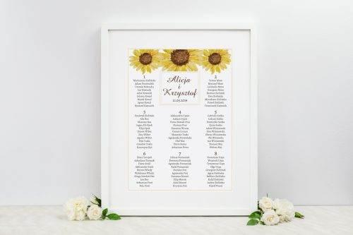 słoneczniki tablica weselna