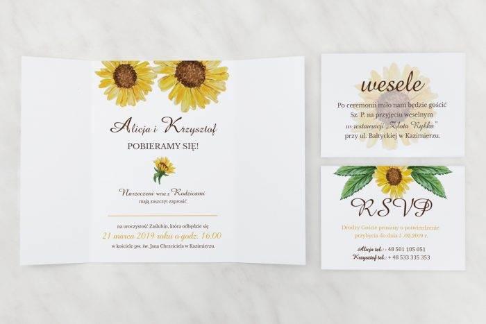 Słoneczniki---Zaproszenie-z-dwoma-karteczkami