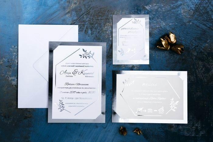 zaproszenie-slubne-srebrne-lustro-delikatne-galazki-papier-matowy-350g-podkladki--foliowanie-