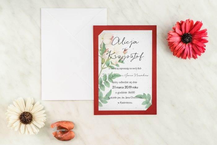 zaproszenie ślubne burgundowe barwinek