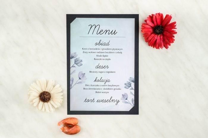 menu-weselne-granatowe-drobne-kwiaty-podkladki-granatowa-menu-papier-satynowany