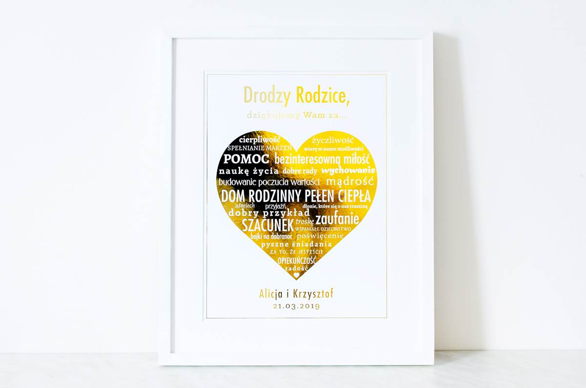 Podziękowanie W Ramce Dla Rodziców Duże Napisy W Złotym Sercu